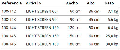 MEDIDAS ADA SCREEN LIGHT