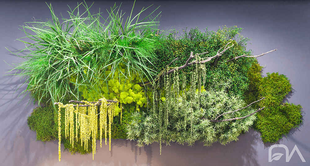 Jardín vertical diseñado íntegramente con plantas preservadas.