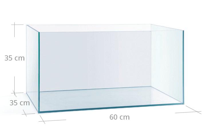 Acuario Beta Line de 60x35x35 con las medidas detalladas