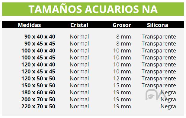 Medidas acuarios NA Cristal Normal