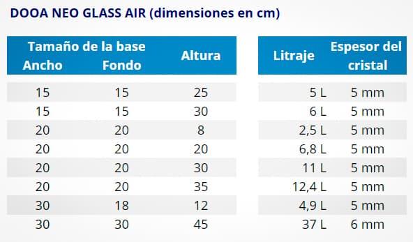 DOOA NEO GLASS AIR MEDIDAS