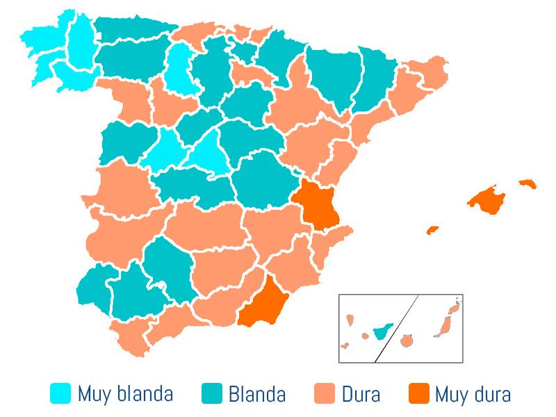 mapa de españa con las durezas del agua de las distintas provincias