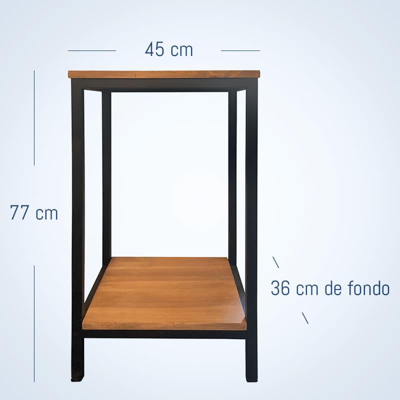 Mesa para soporte de acuarios fabricada en metal y madera. tiene unas medidas de 45x36x77