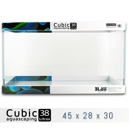 BLAU CUBIC AQUASCAPING 38 de 45x28x30 con cristal óptico, al mejor precio en nascapers, tu tienda de acuariofilia y aquascaping.