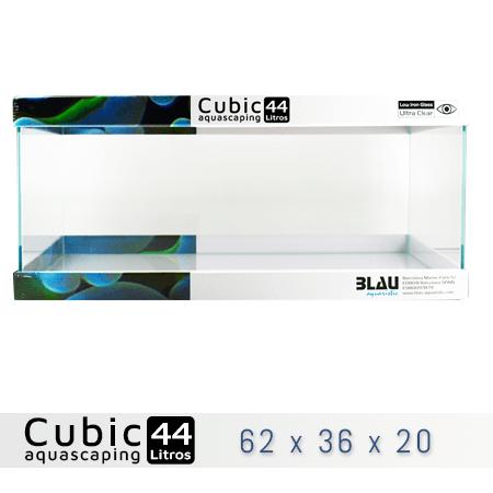 BLAU CUBIC AQUASCAPING 44 de 62x36x20 con cristal óptico, al mejor precio en nascapers, tu tienda de acuariofilia y aquascaping.
