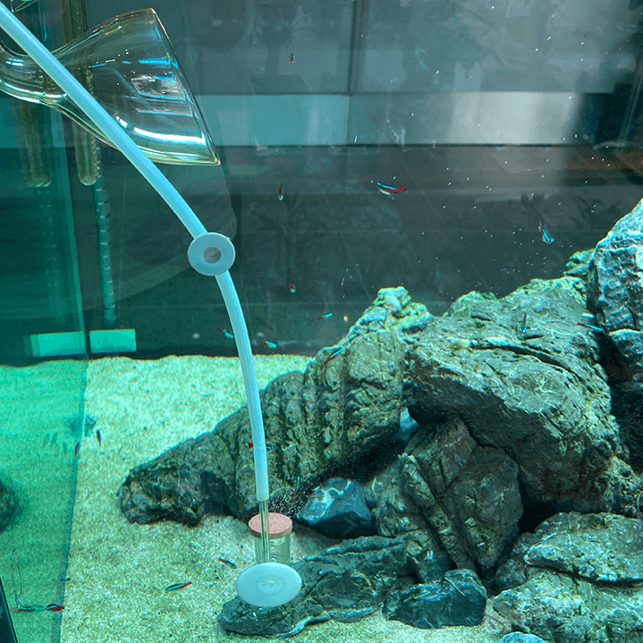 Difusor de CO2 colocado justo debajo de la salida de agua, en acuarios de 90 cm o más grandes.