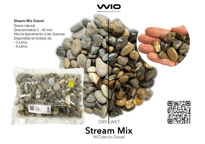 Grava para acuarios WIO STREAM GRAVEL de granulometría MIX 3-40 mm